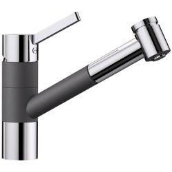 Blanco TIVO-S palaszürke/króm gránit kihúzható zuhanyfejes csaptelep